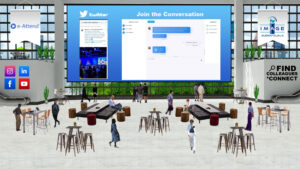 A screenshot of the Virtual Experience Platform Lounge featuring social media walls and chat functions