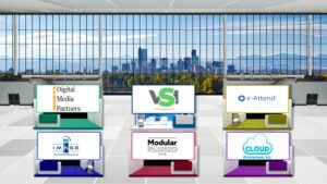 A virtual exhibit hall with dedicated exhibitor booths