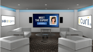 A virtual meeting room custom branded for a sponsor and exhibitor