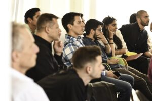 a live audience participating in a hybrid event